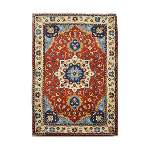 Quality Geometric Wool Red Rug Tribal 4'95x3'41 Hand knotted  carpet Royal kazak