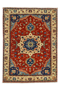 Quality Geometric Wool Red Rug Tribal 4'75x3'37 Hand knotted  carpet Royal kazak