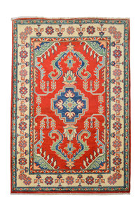 Quality Geometric Wool Red Rug Tribal 4'95x3'41 Hand knotted carpet Royal kazak