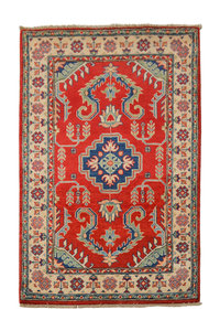 Traditional Wool Red Rug Tribal 5'01x3'11 Hand knotted  carpet  Royal kazak