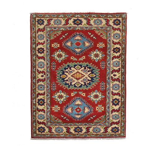 Handgeknoopt Royal Rood  kazak tapijt 148x100 cm vloerkleed Traditional
