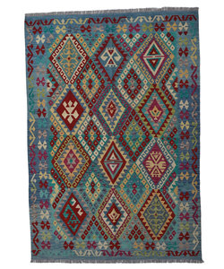 Quality Geometric 8'26X5'80 Hand woven wool kilim Carpet Kelim Rug 252X177 cm