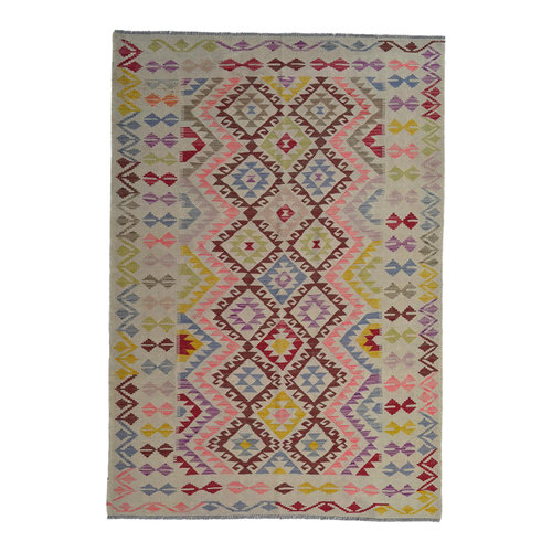 Quality Multi Colour 8'03X5'61 Hand woven wool kilim Carpet Kelim Rug 245X171 cm