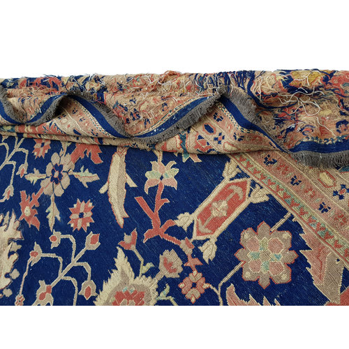 kwaliteit Blauw Handgeweven SumakKelim 391X296 cm