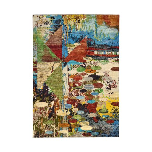 Handgeknoopt Modern Art Deco tapijt 300x202  cm  oosters kleed vloerkleed  multi