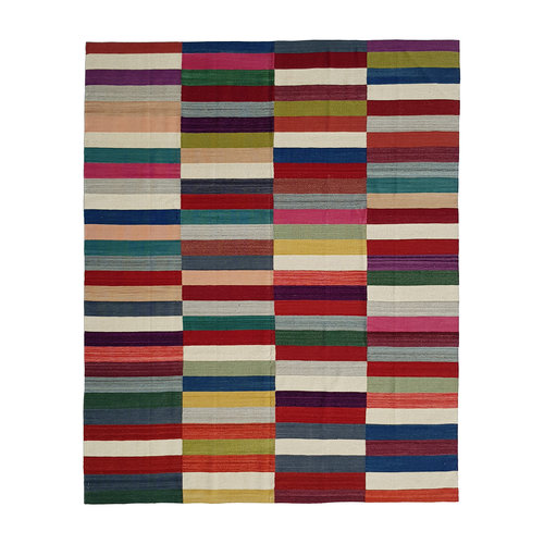 Modern Kilim Rug 9'54x8'33 Multi colour Hand Weaven Oriental Area Rug Carpet