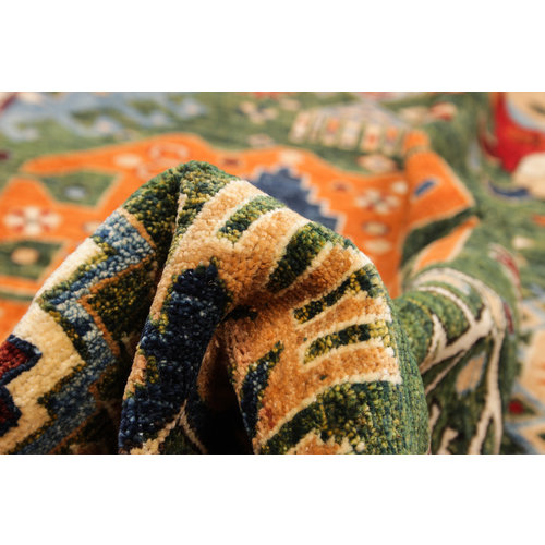 7'84 x 5'64 super fine oriental kazak  serapi rug  green wool teppich wool