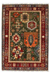 super fijn oriental kazak vloerkleed 239x172x cm groene tapijt hand geknoopt wol