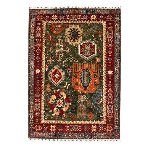 super fein oriental kazak teppich 239x172 cm grün Teppich
