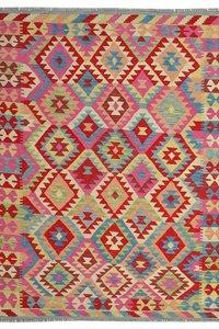 Turksh Quality Hand woven wool kilim Carpet Oriental Kelim Rug 6'39X5'18