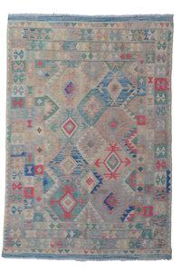 Oriental Geometric Hand woven wool kilim rug 7'97X5'54 Carpet soft color tapis
