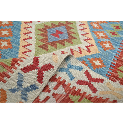 197X145 cm kilim carpet  Handwoven Multicolor Traditional Afghan