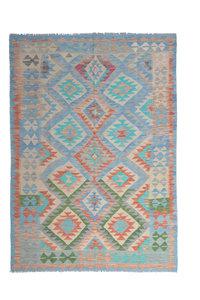 Traditional Geometric Hand woven wool kilim 7'64X5'38 Carpet Rug turquoise