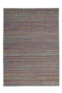 modern kelim Hand woven wool kilim 8'00X5'64 Carpet Rug  stripe tappich