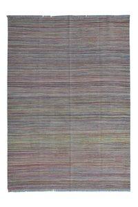 Afghan modern  Hand woven wool kilim 7'97X5'57 Carpet striped Rug