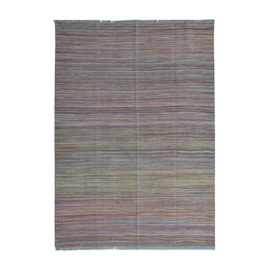Afghan modern  Hand woven wool kilim 7'97X5'57 Carpet striped Rug