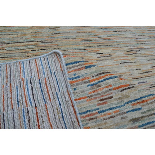 Hand knotted 9'x6' Modern  stripe Wool Rug 287x198 cm  Abstract Carpet   multi