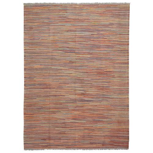 modern stripe line Hand woven wool kilim Carpet Rug 6'56X4'82 multi color