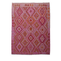 Oriental Geometric Hand woven wool kilim 7'74X5'80 Carpet Rug 236X177 cm