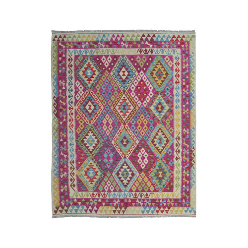 Oriental  Geometric Hand woven wool kilim 7'77X6'10 Carpet Rug 237X186 cm