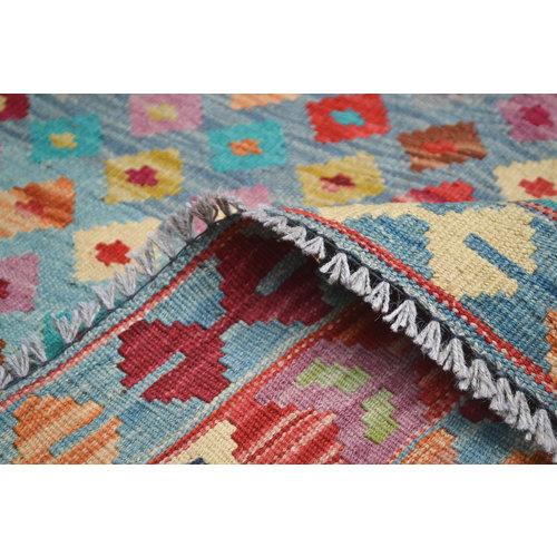 Oriental Hand woven wool kilim Carpet Kilim Rug 6'33X5'01 blue Red kelim