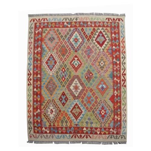 Traditional Geometric Hand woven wool kilim Carpet Rug 6'39X4'82 or 195X147 cm