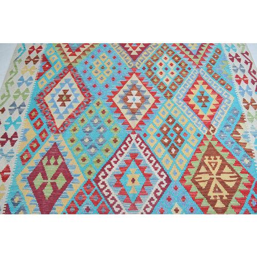 Vloerkleed Tapijt Kelim 233x187 cm Kleed Hand Geweven Kilim