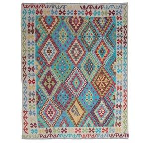 exclusive Sheep Wool Hand woven 233x187 cm Afghan kilim Carpet Rug 7'6x6'1