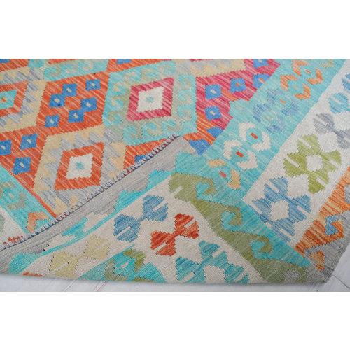 Vloerkleed Tapijt Kelim 243x178 cm Kleed Hand Geweven Kelim