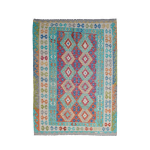 Sheep Quality Wool Hand woven 243x178 cm Afghan kilim Carpet Kelim Rug 7'9x5'8