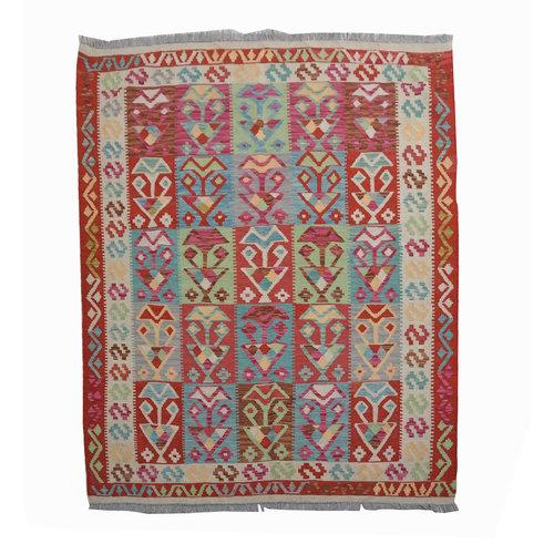 Sheep Quality Wool Hand woven 196x156 cm Afghan kilim Carpet Kilim Rug 6'4x5'1ft