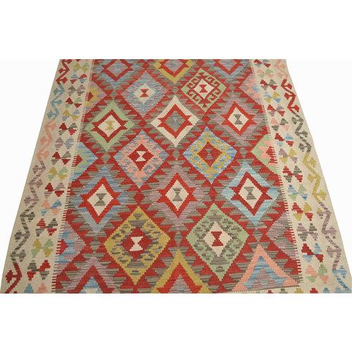 oriental  Wool Hand woven 197x151 cm Afghan kilim Carpet Kelim Rug 6'4X4'9