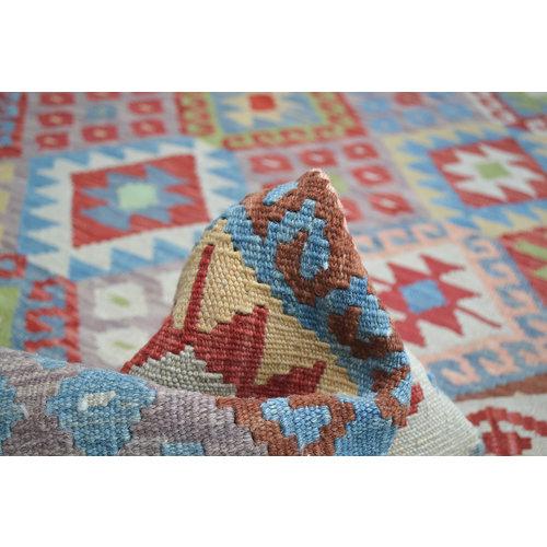 Vloerkleed Tapijt Kelim 196x151 cm Kleed Hand Geweven Kelim