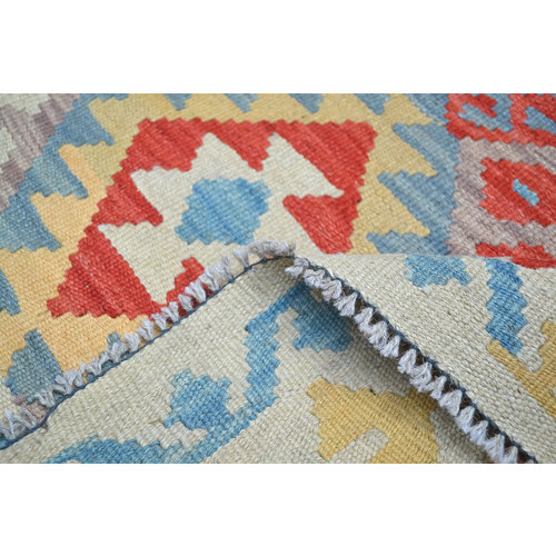 colorfull Quality Wool Hand woven 196x151cm Afghan kilim Carpet Rug 6'4x4'9
