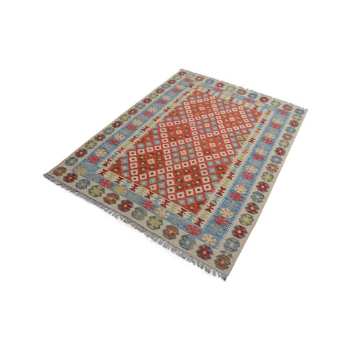 Sheep Quality Wool Hand woven 207x158 cm Afghan kilim Carpet Kelim Rug 6'7X5'1