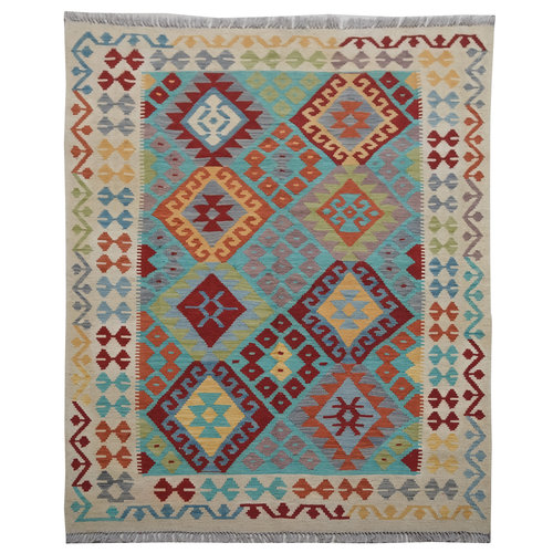 Sheep Quality Wool Hand woven  194x150 cm Afghan kilim Carpet Rug 6'3x4'9 ft