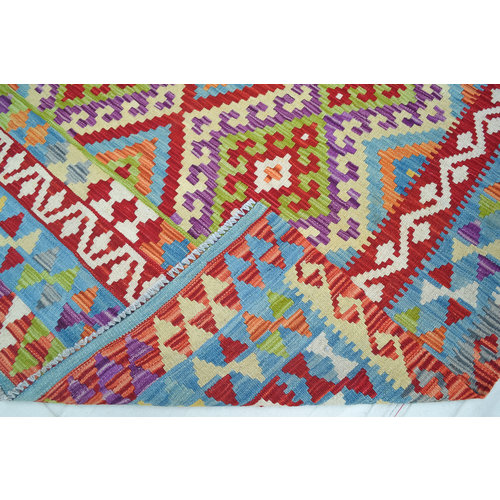 Kelim Kleed 199x153 cm Vloerkleed Tapijt Kelim Hand Geweven