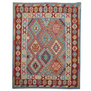 Sheep Quality Wool Hand woven 201x158 cm Afghan kilim Carpet Rug 6'5X5'1 ft