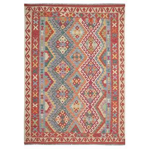 Sheep Quality Wool Hand woven  214x154 cm Afghan kilim Carpet Kilim Rug 7'x5' ft