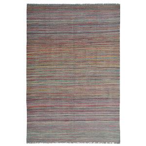 area rug modern stripe Wool Hand woven 246x171 cm  kilim Carpet  8'0x5'6