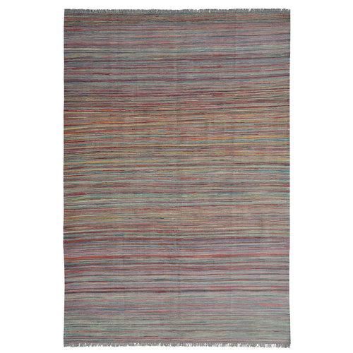 Area modern  stripe  Vloerkleed Tapijt Kelim 246x171 cm Kleed Hand Geweven Kilim