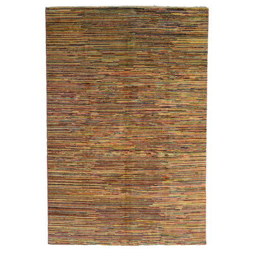 Hand knotted 9'6x6'6 Modern  stripe  Wool Rug 295x204 cm  Abstract Carpet