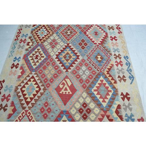 Vloerkleed Tapijt Kelim 196x150 cm Kleed Hand Geweven Kelim