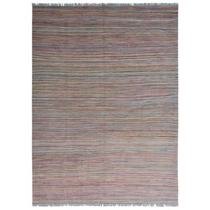 modern stripe multi color Wool Hand woven kilim Carpet Rug 7'8x5'8 kelim