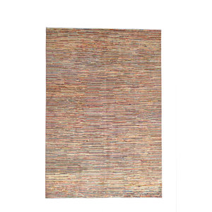 Hand knotted 9'5x6'6 Modern Design stripe Rug  Abstract Carpet  multi color