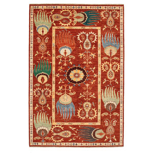 Hand knotted 9'8x6'5 Suzani  Wool Rug 301x199 cm  Oriental Carpet