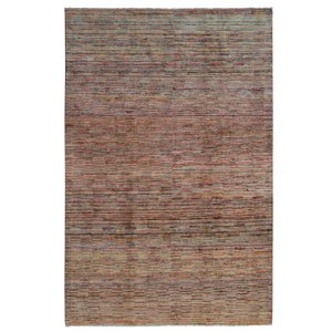 Hand knotted 9'7x6'5 Modern  stripe gabbeh  Wool Rug 296x199 cm  Abstract Carpet