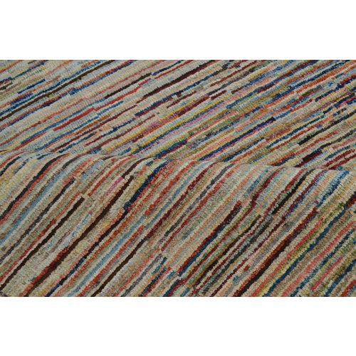 Hand knotted 9'8x6' Modern stripe Gabbeh Wool Rug 301x198 cm  Abstract Carpet