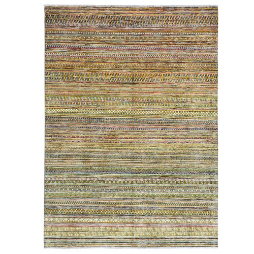Hand knotted 7'7x5'6 Modern  Art Deco Wool Rug 235x171 cm  Abstract Carpet