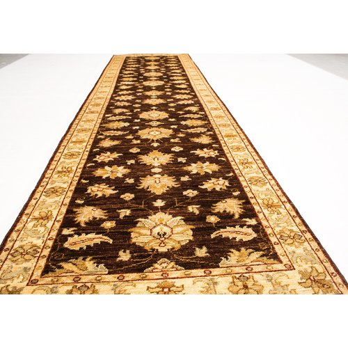 Hand knotted 11'90x2'72 brown ziegler runner  rug  farahan Wool Rug 362x83 cm